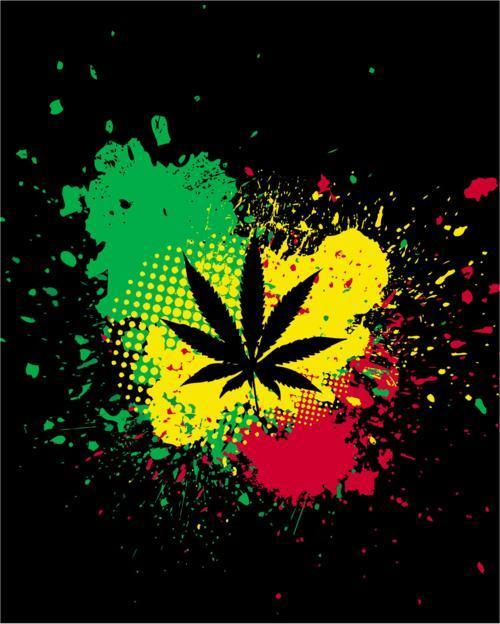 Marijuana leaf and rasta colors